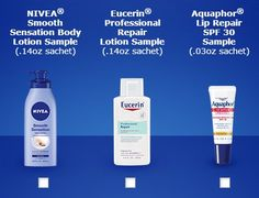 """Here are free samples from Nivea, Aquaphor and Eucerin. FREE Samples of Nivea, Aquaphor or Eucerin! Just like them on facebook and scroll to the bottom on the """"Skincare that cares"""" tab."""