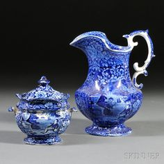 Two Historical Blue Transfer-printed Staffordshire Pottery Items
