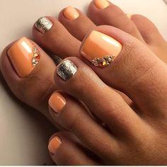 Peach-Rhinestones ToeNailArt