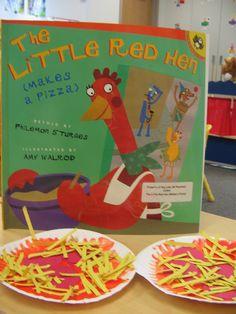Week Along The Little Red Hen~ Makes a Pizza Craft Little Red Hen Activities, The Little Red Hen Preschool, Little Red Hen Story, Fairy Tale Theme, Fairy Tales, Pizza Project, Preschool Books, Preschool Ideas, April Preschool