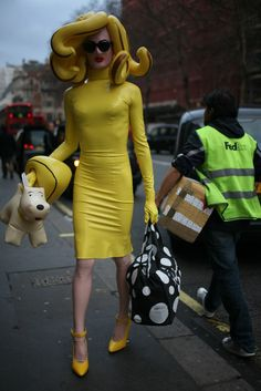 This is fab. Color and ginger hair! What They Are Wearing: London Fashion Week '12 (Photo by Kuba Dabrowski)