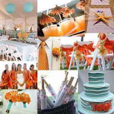 Orange and aqua flowers, cake, wedding