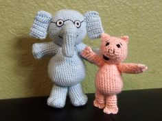 """Elephant and Piggie crochet dolls on Etsy. Can we say adorable? Hehehe. I made the reader say """"adorable""""!"""