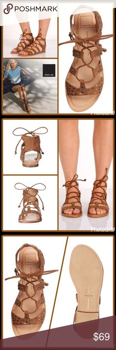"""""""EMBELLISHED"""" GLADIATOR SANDAL ▪️Leather upper with stud detailing ▪️Ghillie lace up closure ▪️Open toe ▪️Man-made lining ▪️Flat stacked heel ▪️Synthetic outsole  🛍 2+ BUNDLE=SAVE  ‼️NO TRADES--NO HOLDS--NO MODELING  💯 Brand Authentic  ✈️ Ship Same Day--Purchase By 2PM PST  🖲 USE BLUE OFFER BUTTON TO NEGOTIATE   ✔️ Ask Questions Not Answered In Description--Want You Yo Be Happy! Dolce Vita Shoes Sandals"""