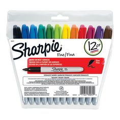 Sharpie® Permanent Fine-Point Markers, Assorted Colors, Pack Of 12