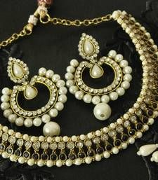 Buy Black colour Necklace & Dangling Pearl Earrings necklace-set online