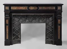 Rare antique Napoléon III style fireplace made out of Black from Belgium marble and Boulle marquetry