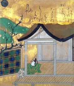 "attributed to tawaraya soutatsu 伝俵屋宗達 17c Scene from ""Tales of Ise""  伊勢物語 西の対図"