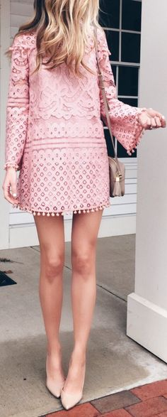 #spring #outfits Pink Lace Dress & Nude Pumps