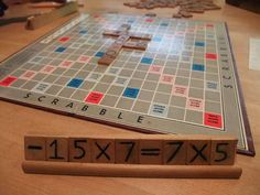 Math scrabble! Play on a normal Scrabble board but make equations instead of words.