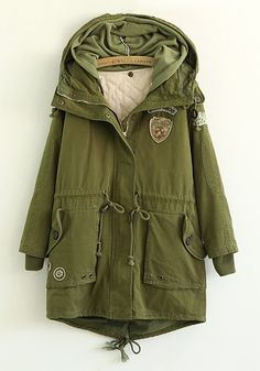 Army Green Plain Drawstring Cotton Blend Padded Coat