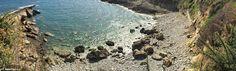 Panoramic view of El Sombrao beach in Antromero, Asturias (Spain). Together with its sister El Cuerno are known as Las Playinas de Antromero.