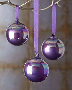 Purple pearlescent Christmas ornaments.