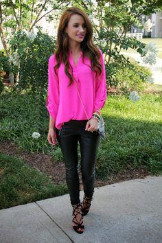 Kiss Me Darling: Neons, Faux Leather, & Snake Skin...neon blouse, pink top, faux leather leggings, leather leggings, leather pants, faux leather pants, black heels, strappy heels, neon, snakeskin, clutch