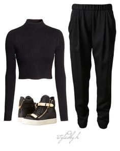 A fashion look from January 2015 featuring turtleneck sweater, elastic waistband pants and high top shoes. Browse and shop related looks. All Black Outfit, 3.1 Phillip Lim, Top Shoes, Giuseppe Zanotti, High Tops, Style Me, Girl Outfits, Fashion Looks, Ootd
