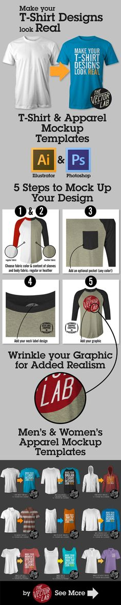T-Shirt Mockup Templates for Photoshop and Illustrator http://thevectorlab.com/collections/mens-apparel-templates ~ Great pin! For Oahu architectural design visit http://ownerbuiltdesign.com