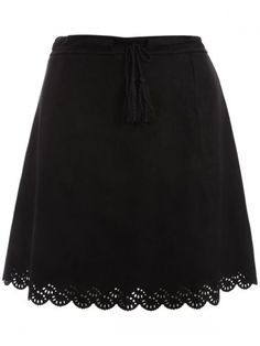 44dafc3684f Plus Size Tie Front Suede Scalloped Skirt