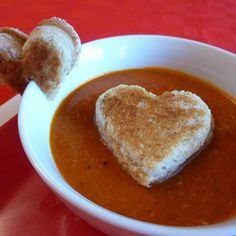 Picky eaters will have fun dunking heart-shaped grilled cheese in yummy tomato soup, and parents will love this extra-healthy version of the classic soup/sandwich combo.