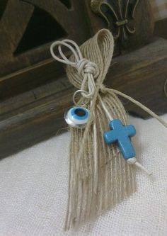 Items similar to Burlap martyrika - Orthodox baptism day-vintage martyrika-rustic martyrika-blue evil eye martyrika on Etsy Greek Easter, Godchild, Greek Wedding, Blue Cross, Burlap Bows, Christening, Floral Arrangements, Projects To Try, Baby Shower