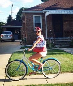 On your bike!  Norbyah with our Pomfret Bag at home in Illinois.  #summer2014 #louellaodie #traveltribe #blogger #collaboration