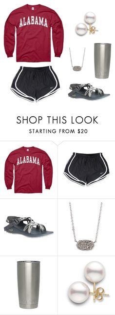 """""""Roll tide ❤️❤️❤️❤️"""" by preppy-southerngirl ❤ liked on Polyvore featuring NIKE, Chaco and Kendra Scott"""