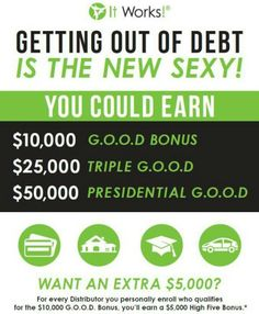 Our goal is to help YOU Get Out Of Debt, so we brought back the G.O.O.D. Bonus with even more ways to earn extra money! Start building a new life for you and your family with the G.O.O.D. Bonus! Pay off credit card bills, student loans, and your mortgage or car payments. Ultimately, you will have a solid foundation to reach financial freedom with It Works! You can earn 10,000, 25,000, even 50,000 with It Works! Global. Join Today https://shrinkthatfat.myitworks.com/enrollment