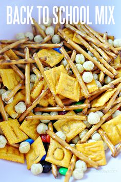 Back to School Mix - a cute and delicious snack that fits perfectly in their backpack! Or share a bowl after school to hear all about their first day back!