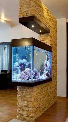 Aquarium Design, Aquarium Setup, Aquarium Fish, Aquarium Ideas, Aquarium Stand, Aquarium In Wall, Saltwater Aquarium, Living Room Partition Design, Room Partition Designs