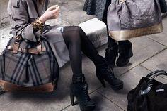 tights, heels, booties, coat, purse, fashion, fall, winter