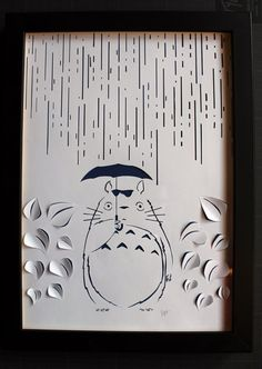 tattoo type? Whiteboard Totoro paper cut, papercut on background color paper handmade, framework 30x24cm