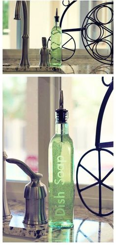 glass bottle for washing up liquid