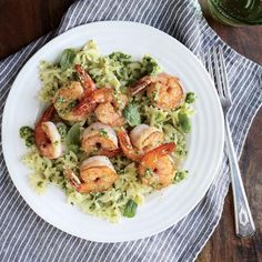 Quick 20-Minute Shrimp Recipes: Shrimp Farfalle with Arugula Pesto | CookingLight.com