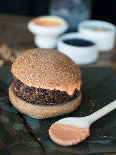 Protein Powerhouse Veggie Burgers - get rid of Sriracha, replace sour cream with Greek yogurt, use freshly roasted red peppers instead of jar