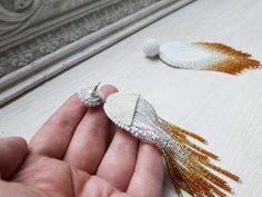 Items similar to White gold earrings Geometric earrings Statement earrings Long tassel earrings Dangle seed beaded earrings handmade Ombre fringe earrings on Etsy White Tassel Earrings, Fringe Earrings, Feather Earrings, Statement Earrings, Seed Bead Earrings, Beaded Earrings, Earrings Handmade, Beaded Jewelry, Bridesmaid Earrings