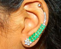 Gold Leaves Ear Cuff Emerald Swarovski earrings Gold Plated Jewelry-Leaves Ear Sweep Modern jewelry-Fashion Jewelery