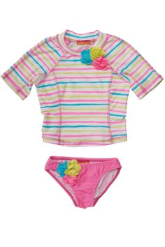 Perfect when a little more coverage is desired, this rainbow stripe surf shirt with cheery flower embellishments comes with a solid pink bikini bottom and helps protect delicate skin from the sun's rays while looking adorable at the same time! - This adorable surf shirt in multi-colored stripe will help protect her skin from the suns rays - Solid pink bikini bottom is decorated with a cluster of bright flowers - Swim fabric treated with an Ultra Violet Protection Factor of 50+ - Care…