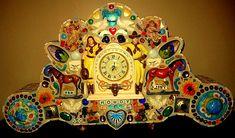 MosaicWOW! The Art of Steve Terlizzese mantel clocks vintage, antique, art, collage mosaic clocks, retro, artsy, china pottery pique assiette