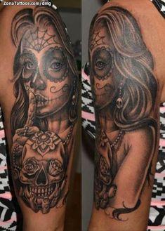 Pin Up Tattoos, Badass Tattoos, Leg Tattoos, Arm Tattoo, Body Art Tattoos, Girl Tattoos, La Muerte Tattoo, Catrina Tattoo, Skull Girl Tattoo