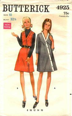 a92dd16cee57 Vintage 1960s Butterick Sewing Pattern Women s DRESS JUMPER 4925 Sz 10  UNCUT  Butterick Robes Vintage