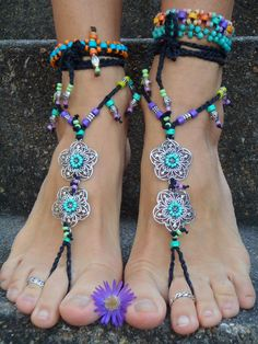 NEON Black Flower BAREFOOT SANDALS soleless sandals by GPyoga
