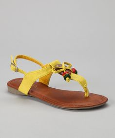 Take a look at this Yellow Beaded Beach 11 Sandal by Anna Shoes on #zulily today!