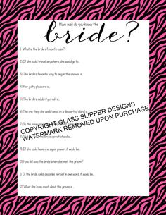 Bridal shower/bachelorette game printable - How well do you know the bride quiz pink zebra print - automatic download by glassslipperdesigns on Etsy