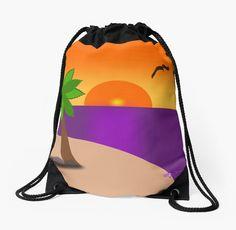 'Tropical Island Scene' Drawstring Bag by moondreamsmusic Messenger Bags, Backpack Bags, Tote Bags, Drawstring Backpack, Pearl Rose, Woven Fabric, Tropical, Scene, Tote Bag