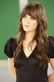 Zooey Hair...love her and her hair! idk if i can do bangs again but love her length and the wavy curls=)