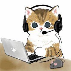 Cute Animal Drawings, Cartoon Drawings, Art And Illustration, Cat Illustrations, Kitty Drawing, Gato Anime, Cat Wallpaper, Cute Creatures, Pretty Art