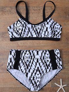 Swimwear | White and black Cami Printed High Waist Plus Size Bikini Set - Gamiss