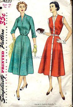 Vintage 1950s Pattern V Neck Shirt Dress Gored Skirt Sleeveless or Three Quarter Sleeves 1953 Simplicity 4220 bust 44 UNCUT