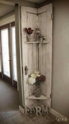 Faye from Farm Life Best Life turned her old barn door into a stunning, rustic shelf with Chocolate Tart, Vanilla Frosting, and Crackle Medium! # rustic Home Decor Almost Demolished, Repurposed Barn Door Decor Easy Home Decor, Cheap Home Decor, Homemade Home Decor, Homemade Crafts, Barn Door Decor, Vintage Door Decor, Vintage Doors, Antique Doors, Archway Decor