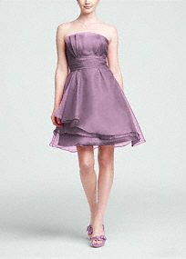 Strapless, organza, A-Linedress is elegant and feminine, perfect for any member of your bridal party.  Strapless, empirebodice features unique pleating detail for added dimension.  Ruched waist creates a flawless and flattering look.  Layered organza skirt is soft and romantic.  Fully lined. Back zip. Imported polyester. Dry clean only.