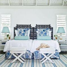 Coastal Blues in a Guest Bedroom  | Decor Ideas | Home Design Ideas | DIY | Interior Design | home decor | Coastal living
